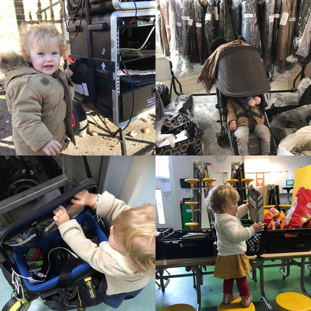 Four images of a small child on a film set